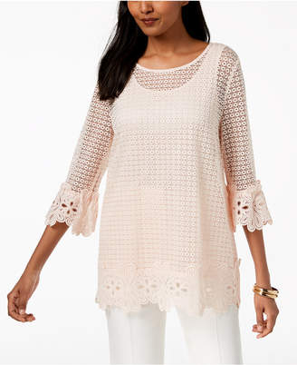 Alfani 3/4-Sleeve Crochet Top, Created for Macy's