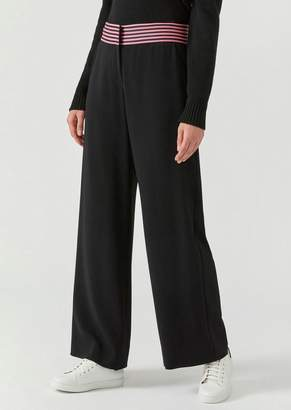 Emporio Armani Palazzo Pants With Two-Tone Striped Band At Waist