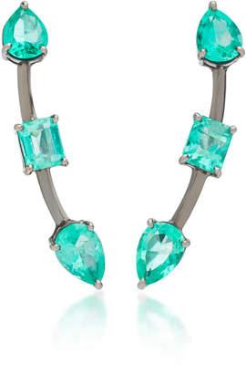 Jack Vartanian Rhodium-Plated 18K White Gold Emerald Earrings