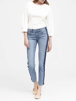 Banana Republic Girlfriend Medium Wash Side Stripe Cropped Jean