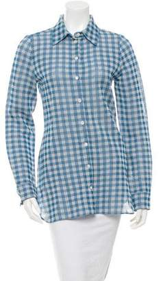 Celine Check Button-Up Top w/ Tags