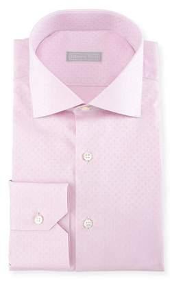 Stefano Ricci Tonal Square Jacquard Cotton Dress Shirt
