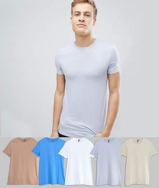 Asos DESIGN crew neck t-shirt 5 pack SAVE