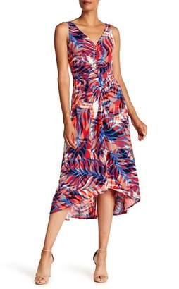 London Times Printed Ruched Hi-Lo Dress