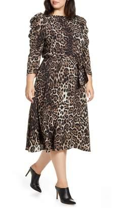 Eliza J Leopard Print Midi Dress