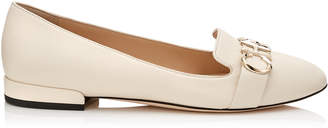 Jimmy Choo JADEN FLAT Linen and Gold Nappa Leather Round Toe Ballerinas