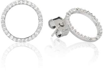 Astrid & Miyu - Tuxedo Circle Stud Earrings in Silver