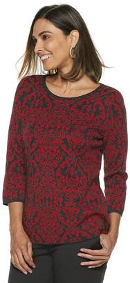 Dana Buchman Women's Scroll Jacquard Crewneck Sweater