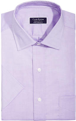Club Room Men's Classic/Regular Fit Stretch Easy-Care Pinpoint Solid Short Sleeve Dress Shirt, Created for Macy's