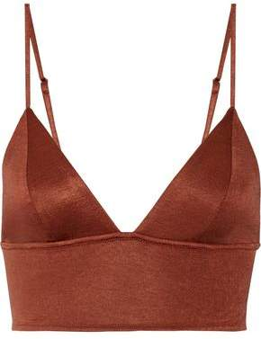Fleur Du Mal Metallic Stretch-Jersey Soft-Cup Triangle Bra