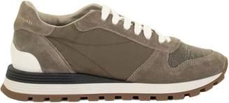 Brunello Cucinelli Rustic Suede And Techno Taffeta Sneakers With Precious Toe Detail