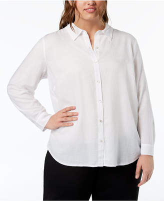 7cf2b1c5975 at Macy s Eileen Fisher Plus Size Classic Collared Button-Up Shirt