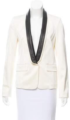 Tibi Leather-Accented Shawl Collar Blazer
