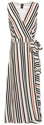 Jets Striped Printed Twill Wrap Dress