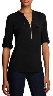 Calvin Klein Zip Front Roll Sleeve Knit Blouse