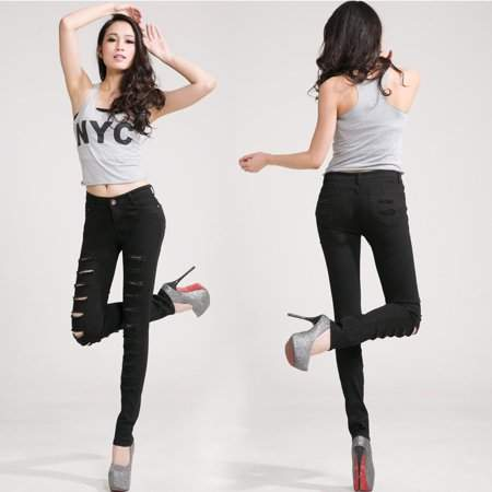 tryandtry Fashion Hole Design Women Slim Figure Pencil Pants Casual Jeans Trousers