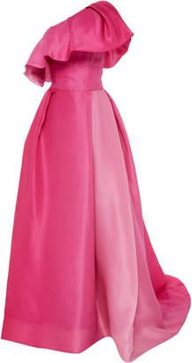 Monique Lhuillier One Shoulder Ruffled Silk Ball Gown