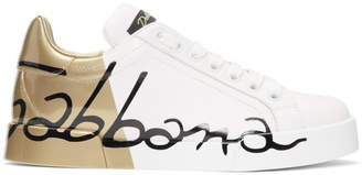 Dolce & Gabbana White and Gold Leather Portofino Sneakers