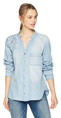 Nine West Women's Sheryl Roll Cuff Button Front Shirt