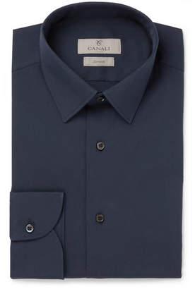 Canali Navy Slim-fit Stretch Cotton-blend Poplin Shirt - Navy