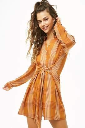 Forever 21 Tie-Waist Plaid Shirt Dress