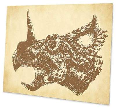 Astra Art Triceratops 11-Inch x 14-Inch Metal Wall Art