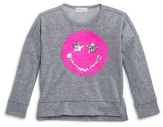 Design History Girls' Smiley Flip Sequin Sweatshirt - Little Kid