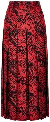 Gucci Red Printed Silk Midi Skirt