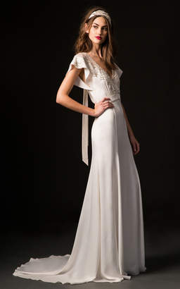 Temperley London Bridal Carmen V-Neck Gown with Embroidered Bodice