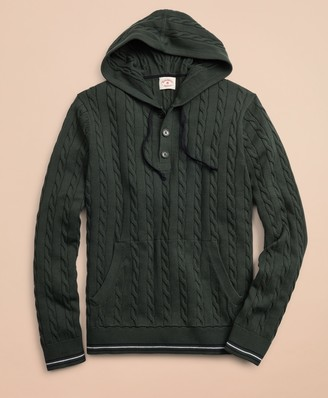 Brooks Brothers Cable-Knit Hooded Henley Sweater