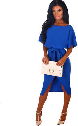 Pink Boutique Came Here For Love Cobalt Blue Belted Wrap Front Midi Dress