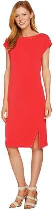 Susan Graver Liquid Knit Dress with Stud Trim