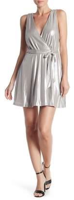 BB Dakota Aggie Faux Wrap Metallic Dress