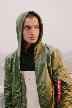 Alpha Industries X UO Monochromatic Hooded L-2B Bomber Jacket $169 thestylecure.com