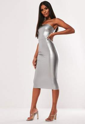 080e1a118427 Missguided Silver Faux Leather Bandeau Bodycon Midi Dress
