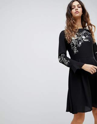 Oasis Embroidered Dress With Fluted Sleeve