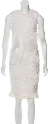 Nina Ricci Feather-Trimmed Silk Dress