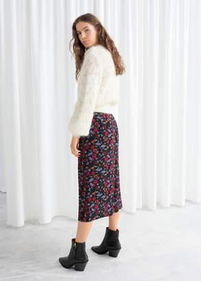 Asymmetrical Button Midi Skirt