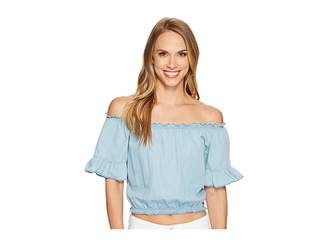 U.S. Polo Assn. Denim Off the Shoulder Crop Top Women's Clothing