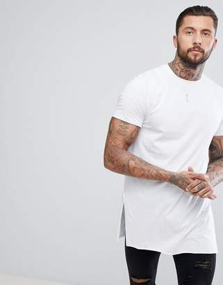 Asos Design DESIGN super longline t-shirt with extra long side splits and raw edges in white