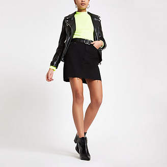 River Island Black denim mini skirt