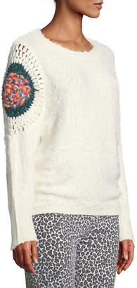 philosophy Crochet-Detail Fuzzy Sweater