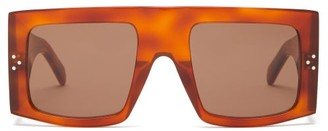 Celine Flat Top Square Acetate Sunglasses - Womens - Tortoiseshell