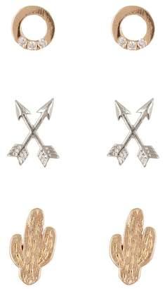 Loren Olivia Cactus & Arrows Stud Earrings - Set of 3 Pairs