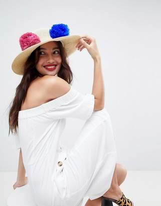 Asos DESIGN Straw Hat with Pom Pom Trim and Size Adjuster