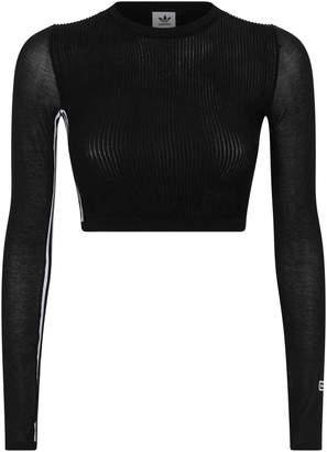cb7528cdde3a24 adidas Mesh Knitted Long-Sleeve Crop Top