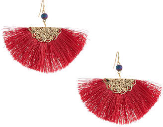 Kenneth Jay Lane Threaded Fan Fringe Earrings, Fuchsia