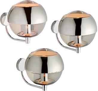 Rejuvenation Set of 3 Polished Chrome Globe Sconces