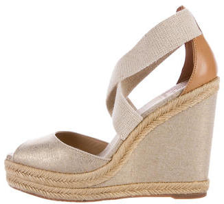 Tory Burch Tory Burch Metallic Espadrille Wedges