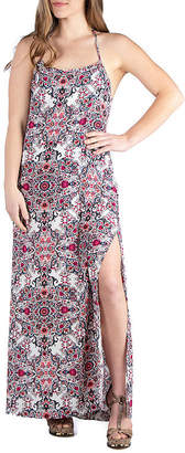24/7 Comfort Apparel Low T-Back Maxi Dress With Side Slit